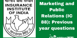 Marketing and Public Relations (IC 88): Previous year Questions Paper