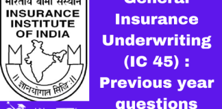 General Insurance Underwriting (IC 45): Previous year questions