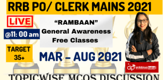 """""""RAMBAAN"""" General Awareness Free Classes on YouTube for RRB PO/Clerk Mains 2021"""