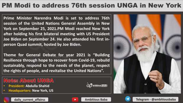 PM Modi to address 76th session UNGA in New York