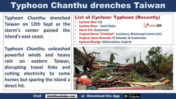 Typhoon Chanthu drenches Taiwan