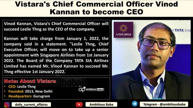 Vistara's Chief Commercial Officer Vinod Kannan to become CEO