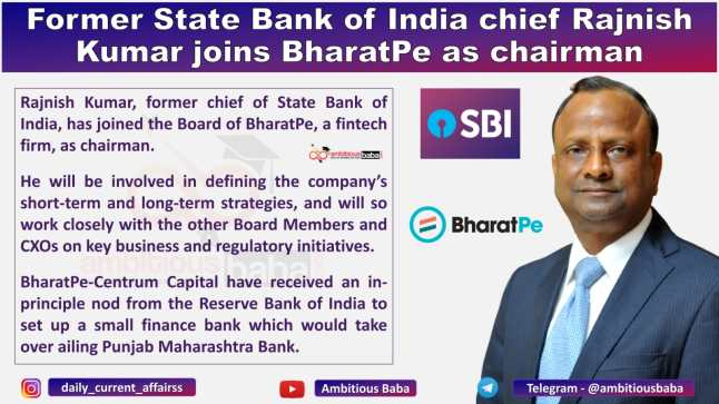 Former State Bank of India chief Rajnish Kumar joins BharatPe as chairman