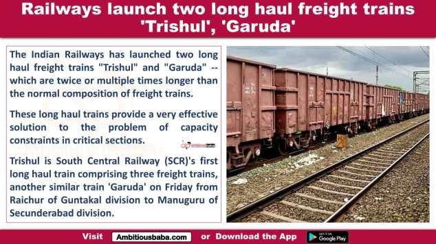 Railways launch two long haul freight trains 'Trishul', 'Garuda'