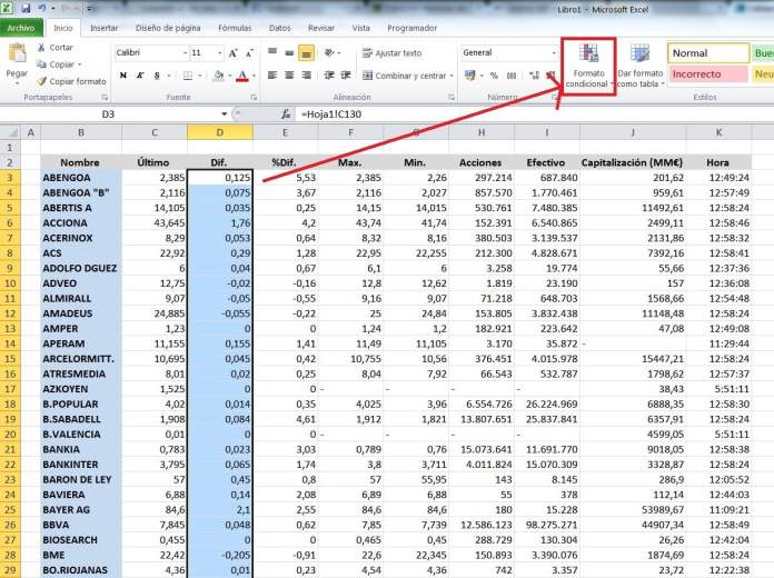 colocar formatos en tabla excel