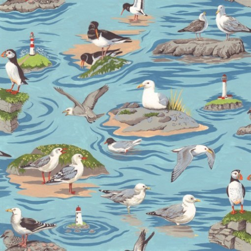 Sea Birds By the Sea Coastal fabric from nutex FCST040