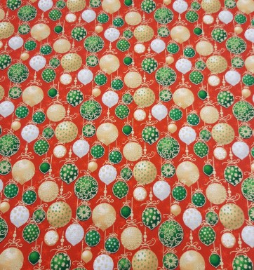 Seasons Greeting Christmas Baubles on Red by Fabri-Quilt 2