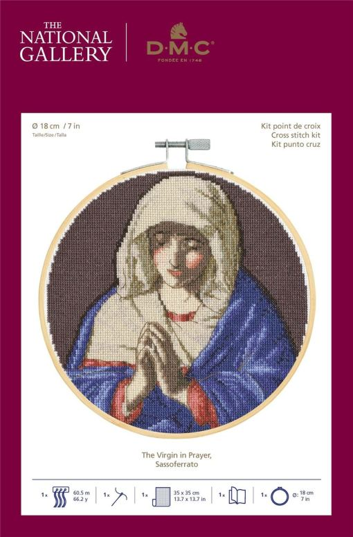 The Virgin in Prayer – Sassoferrato Counted Cross Stitch The National Gallery by V&A DMC