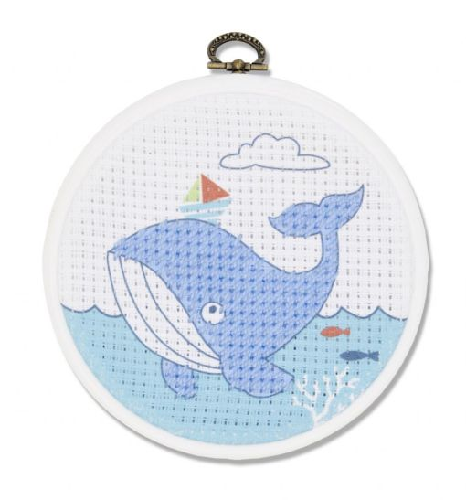 The Whale – My First Stitches Printed Half Cross Stitch Kit DMC