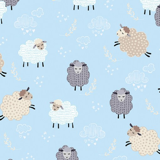 dreamy sheep on sky blue sweet dreams collection by Greta Lynn for kanvas