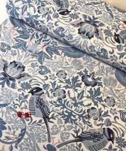 cherry thief cotton canvas fabric william morris strawberry thief