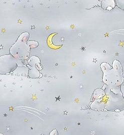bunny rabbits moon stars baby dear stella fabric quilt