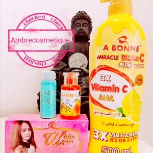 GAMME ULTRA ECLAIRCISSANTE PROTEINEE AU COLLAGENE AHA VITAMINE C LEMON CARROT LAIT & SAVON & SERUMS 4 PIECES