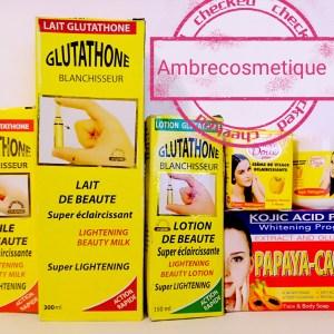 GAMME ECLAIRCISSANTE 5 PIECES GLUTATHIONE ACIDES DE FRUITS & VITAMINE E ANTI TACHES ACTION ULTRA FORT RESULTAT 5 JOURS