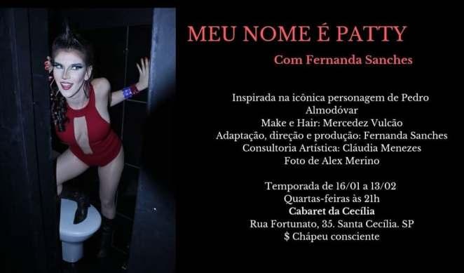 Meu nome é Patty - Adaptação para o teatro paulistano por Fernanda Sanches   Teatro   Revista Ambrosia