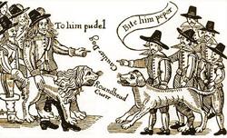 Gravura produzida durante a Guerra Civil, mostrando o confronto entre os roundheads e cavaliers.