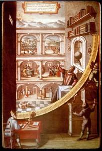 Gravura do século XVI, mostrando Tycho Brahe em seu observatório.