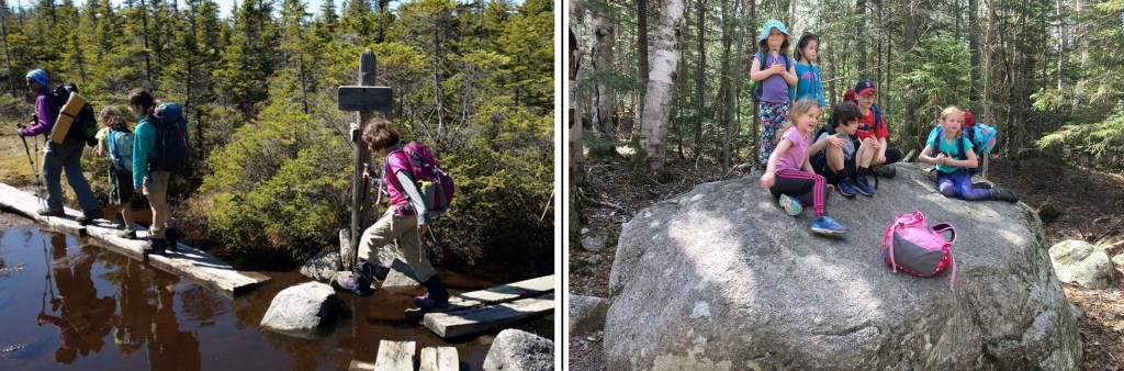 young children scampering over large rocks and boulders