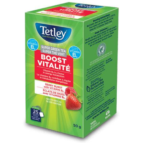 Tetley Boost Vitalité Super Green Tea - Berry Burst with Vitamin B6