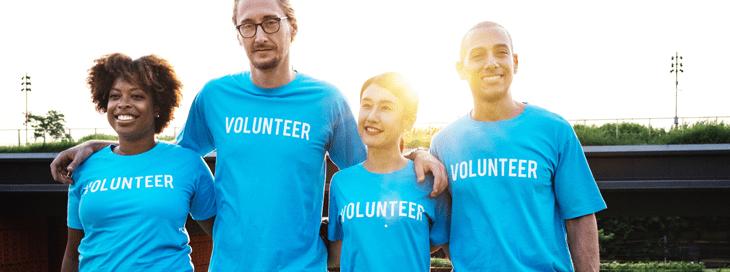 volunteer staff in custom printed t-shirts