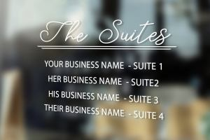 Business Name Vinyl Decal, Office Suites Vinyl Decal, Multi-business decal,  Beauty Salon sign, Clothing Boutique