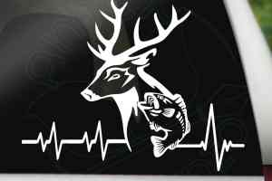 Hunting and Fishing Heartbeat Car Decal