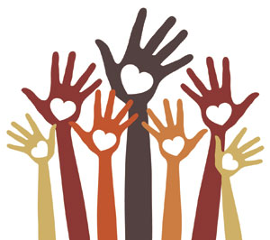 raised hands with hearts for volunteering