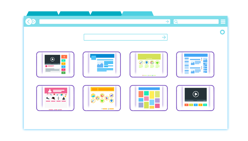 illustrated browser with 8 tabs with different types of web pages