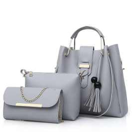 Grey colored 3 in 1 handbag