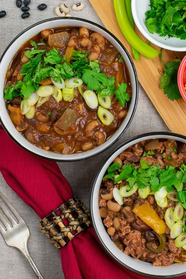 two bean chili 2 ways overhead views of two bowls