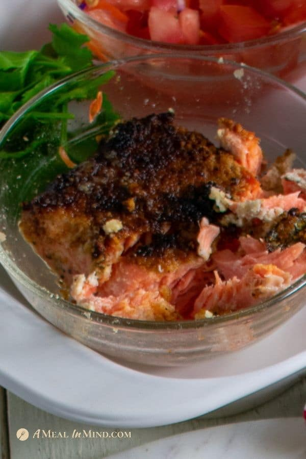 close-up image of almond flour crusted salmon for tacos