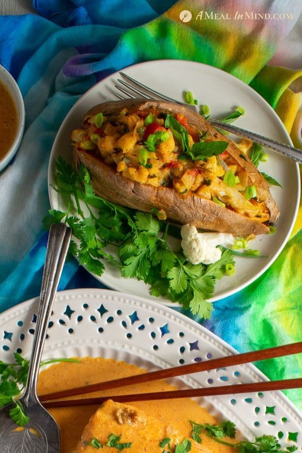 delicious thai massaman-curry stuffed sweet potatoes