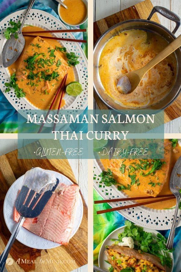 4 part pinterest collage of massaman salmon thai curry