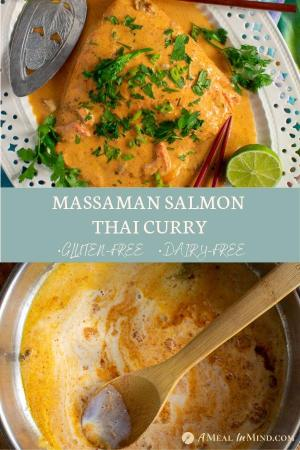 pinterest collage 3 for easy massaman salmon thai curry