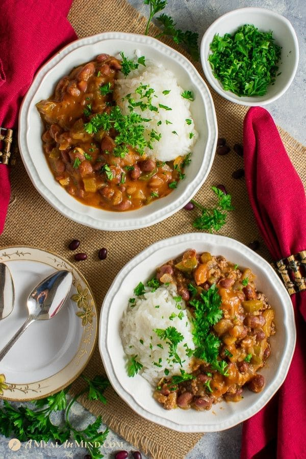 beautiful bowls of delicious red beans and rice 2 ways gluten free
