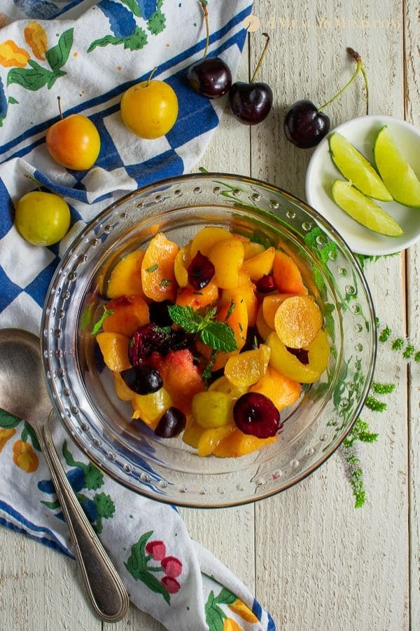 delicious stone fruit salad with citrus dressing