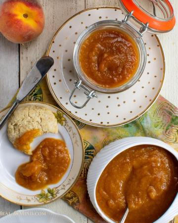easy peach butter 3 ingredient on white plates