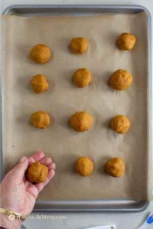 pumpkin cookie dough in balls