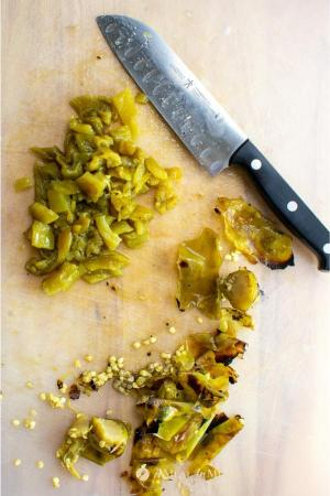 cleaned and chopped hatch green chiles for savory roasted hatch green chile tortilla soup