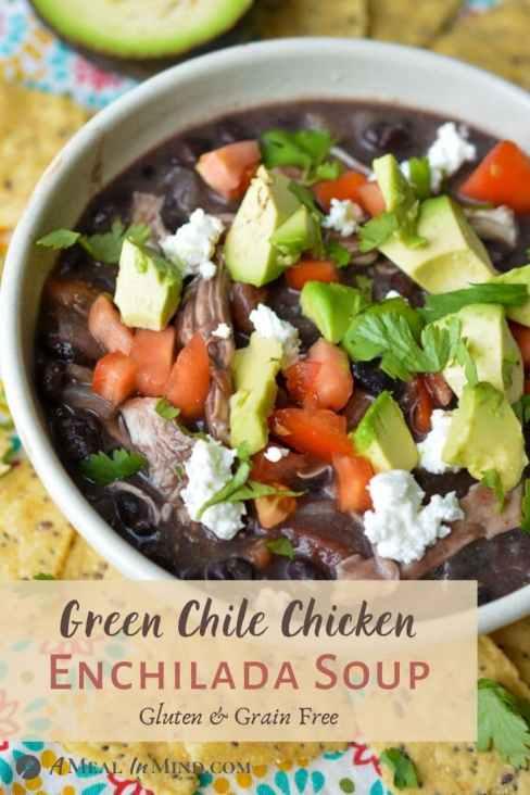 Green chile chicken enchilada soup in white bowl pinterest image