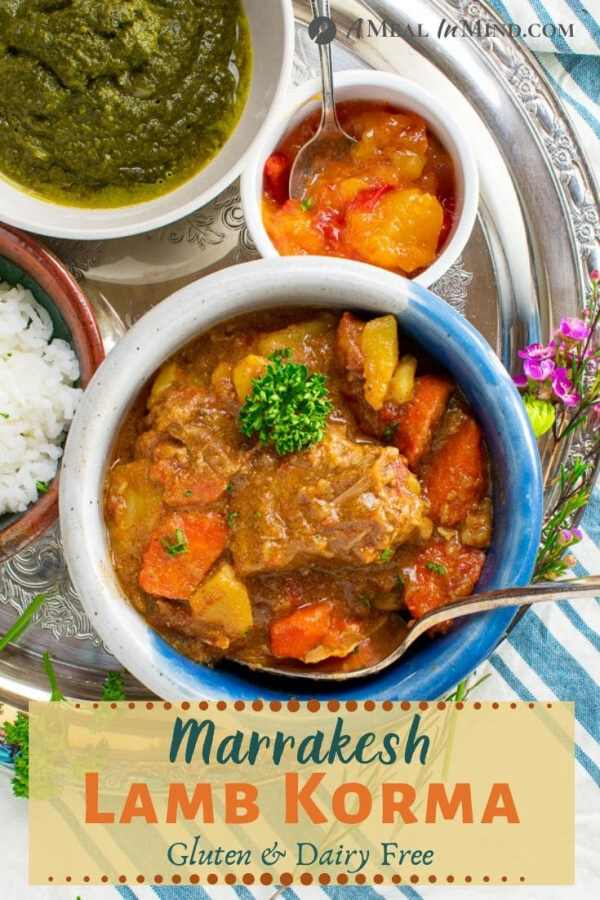 pinterest image of marrakesh lamb korma