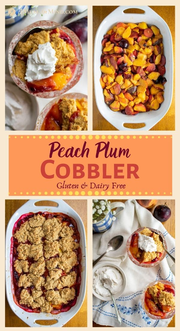 Mouthwatering Peach Plum Cobbler 4 image collage