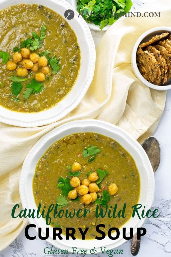 Cauliflower Wild Rice Curry Soup pinterest image