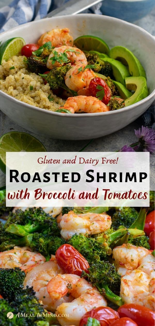 roasted shrimp with broccoli and tomatoes pinterest collage