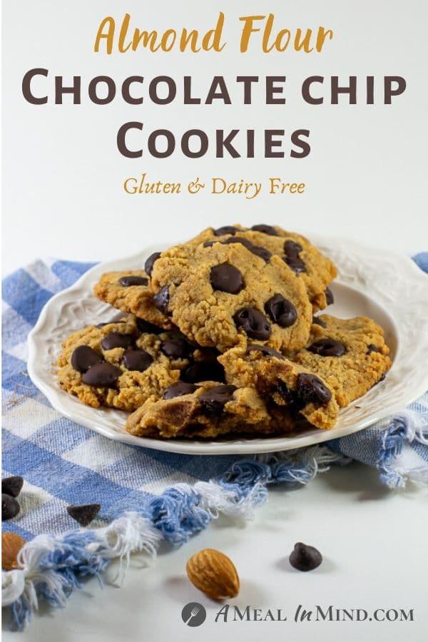 Almond Flour Dark Chocolate Chip Cookies pinterest image