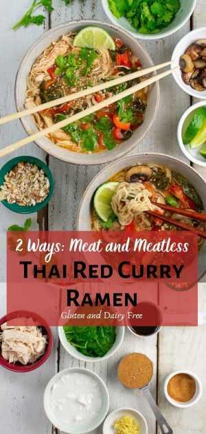 thai red curry ramen 2 ways pinterest collage