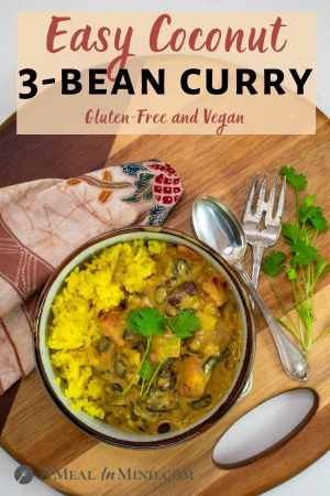 Spinach and Coconut 3 Bean Curry pinterest image