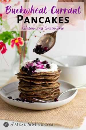 Buckwheat-Currant Pancakes Gluten Free pinterest image