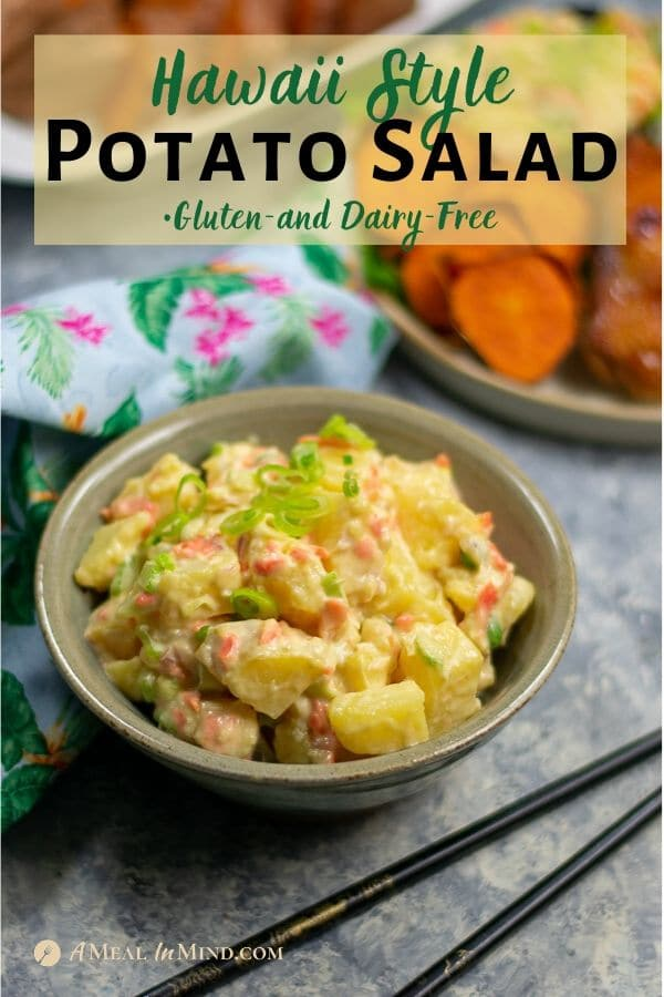 delicious hawaii style potato salad in tan bowl