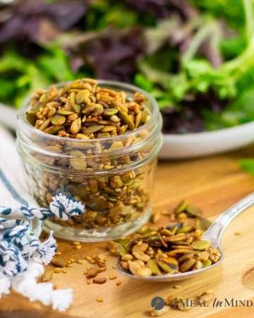 Three-Seed Salad Topper in glass jar